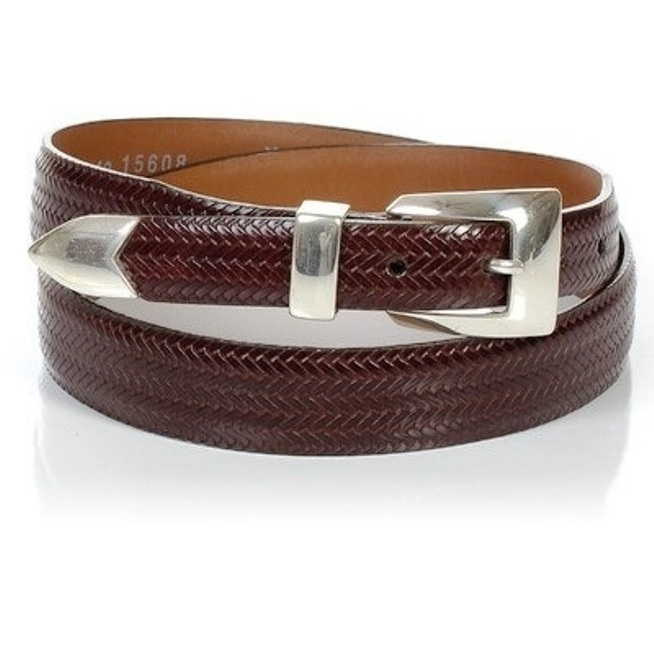 15608 Men's Brighton Avalon Basket Weave Brown Belt